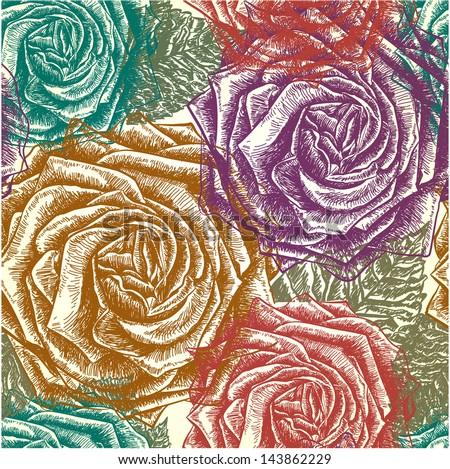 Seamless vintage rose pattern. Vector, EPS 10