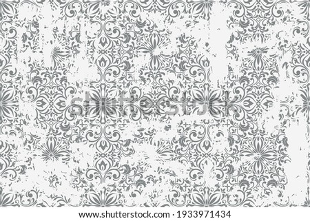 Seamless vintage rug with an effect of attrition. Damask carpet. Hand drawn seamless abstract pattern with eastern motifs. vector illustration