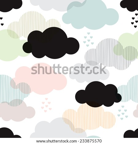 seamless vintage style clouds...