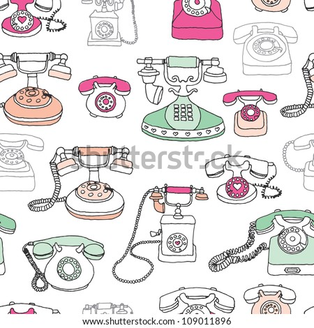 Seamless vintage telephone retro background pattern in vector
