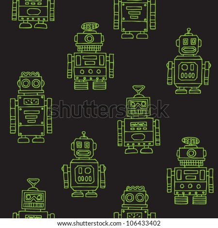 stock vector : Seamless vintage toy robots pattern
