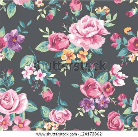 stock vector seamless vintage tropical flower pattern vector 124173862 - Каталог — Фотообои «Цветы»