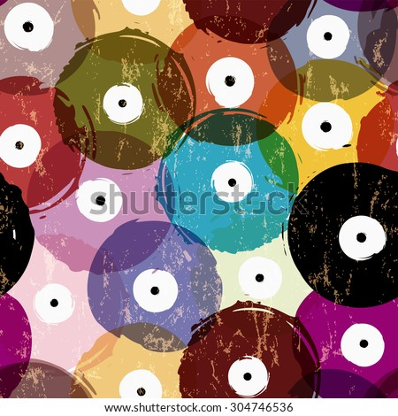 seamless vinyl records background pattern, vector illustration