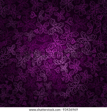 Seamless Violet Butterfly Silhouette Pattern On Dark Purple Background. Vector Illustration