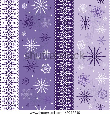 Seamless violet-white striped christmas pattern with snowflakes (vector) - stock vector