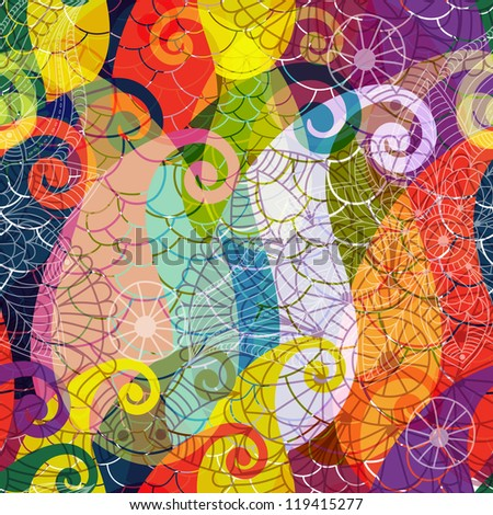 Seamless vivid colorful translucent pattern with paisley and mandala (vector EPS 10)