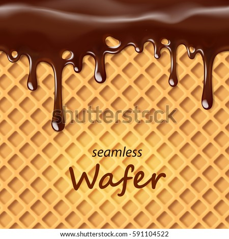 Seamless wafer and dripping chocolate repeatable, vector art and illustration. Сток-фото ©