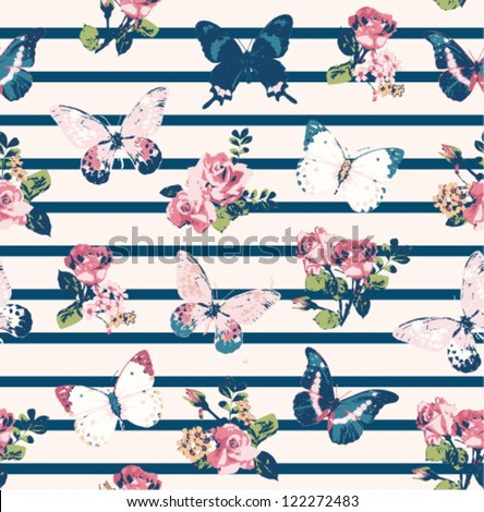 seamless wallpage vintage  rose with butterfly on stripe  background