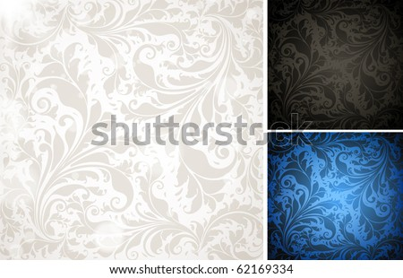 Seamless Wallpaper colorful set, Vector Background for vintage design with retro ornament with leafs and flowers. eps 10.