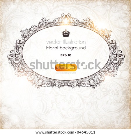 Seamless Wallpaper, Detailed Vector Background with antique and baroque flowers. Vintage frame for retro banners or christmas invitations