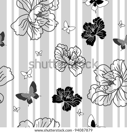 seamless wallpaper flowers and butterflies. Rasterized version also available in portfolio.