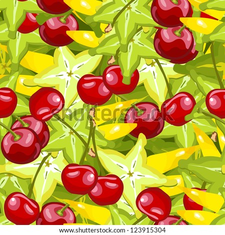 seamless wallpaper for holiday packages featuring berries and cherries cherry Cannon Fruit Berries - stock vector
