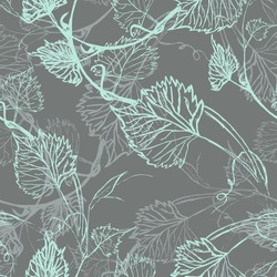 Seamless Wallpaper. Grapevine seamless pattern. Abstract blue leaves on a grey background