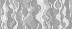Seamless wallpaper on horizontally surface. Wavy background. Hand drawn waves. Striped texture with many lines. Waved pattern. Black and white illustration