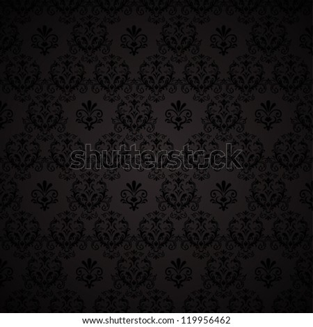 Seamless wallpaper pattern. Black background. vector illustration