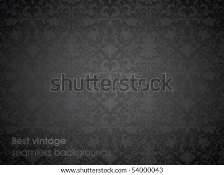 Seamless wallpaper pattern, black. For retro design, web site or flyer background. Detailed ornament.