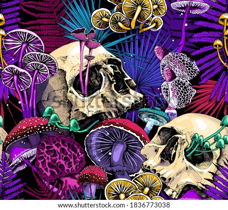 Seamless wallpaper pattern. Bright Magic Psychedelic Mushrooms and skulls. Humor textile composition, hand drawn style print. Vector illustration.