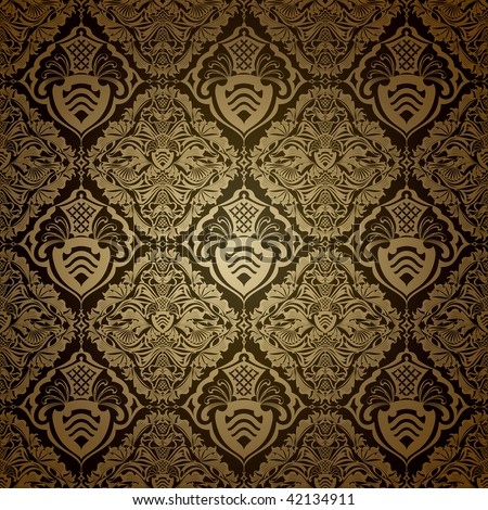 Seamless wallpaper pattern, dark - stock vector