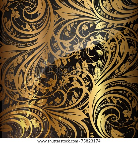 Seamless wallpaper pattern gold, vector. Eps 10. - stock vector