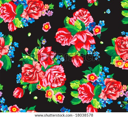 Seamless wallpaper pattern with of collection red roses and blue flowers isolated on black design background, vector illustration