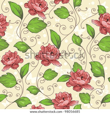 Seamless wallpaper pattern with of collection red roses on floral design background, vector illustration - stock vector