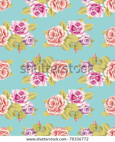 Seamless wallpaper pattern with of purple and pink roses on turquoise background, vector illustration