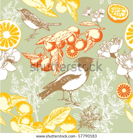 Seamless wallpaper pattern with orange and birds