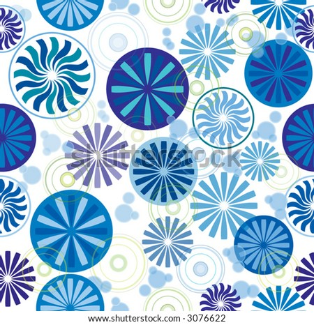 stock vector : Seamless wallpaper pattern with wheel, round and sunflower