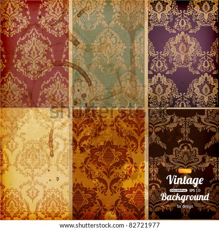 Seamless wallpaper set for vector retro background