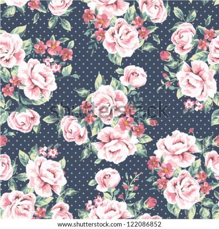 seamless wallpaper vintage flower pattern on dot background
