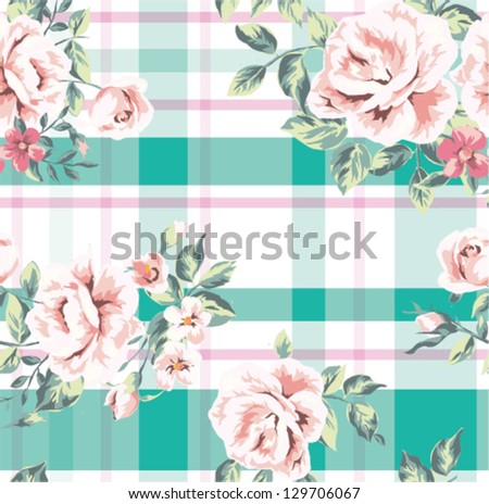 seamless wallpaper vintage flower rose with check pattern background
