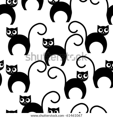 Seamless wallpaper with cartoon cats