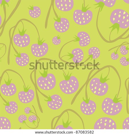 Seamless wallpaper with delicate bushes of strawberries