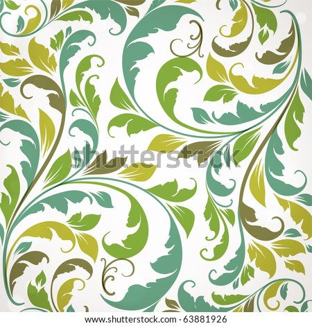 Seamless Wallpaper with floral ornament with leafs and flowers for vintage design, Vector retro background
