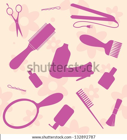 seamless Wallpaper with the hair-dresser's tools