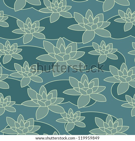 Seamless water-lily pattern in blue colors. Vector illustration