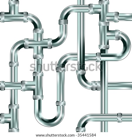 Seamless water pipe or plumbing background.  Stainless steel texture.
