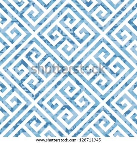 Seamless Water Themed Greek Key Background Pattern