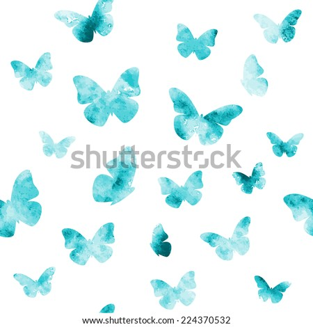 seamless watercolor butterflies