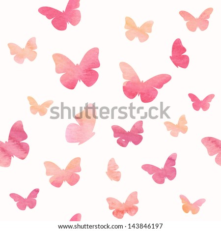 Stock Photo Seamless watercolor butterfly pattern. Vector illustration