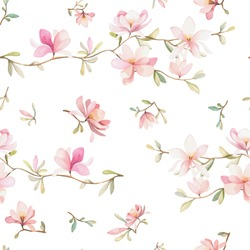 Seamless watercolor floral pattern on a white background