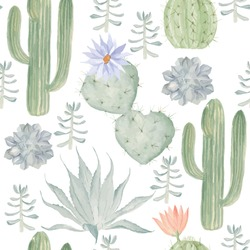Seamless watercolor pattern of cactus. May be used in the package design, textiles