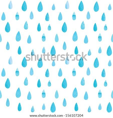 Seamless watercolor rain pattern. Vector illustration