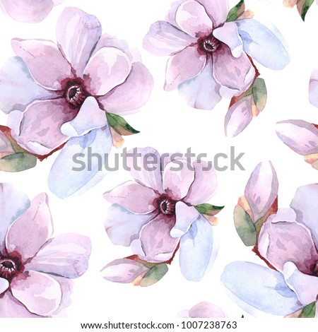 Seamless watercolor romantic floral pattern on a white background