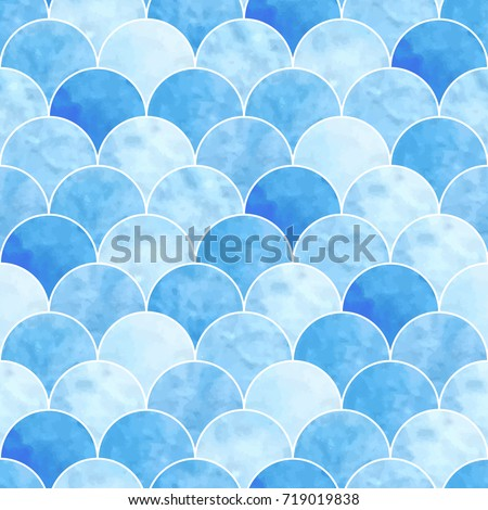 seamless watercolor scales pattern