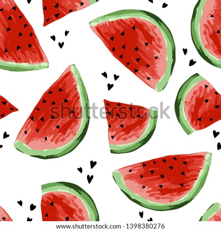 Seamless watermelons pattern. Slices of watermelon, berry background. Painted fruit, graphic art, cartoon. For the design of the fabric, print, wallpaper, wrapping. Vector illustration