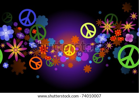 Seamless wave of flower blossoms and peace signs
