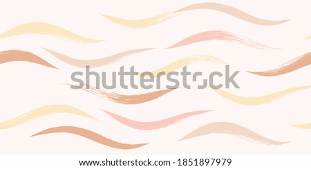 Seamless Wave Pattern, Hand drawn pink, orange and green girly stripe seamless background. Wavy vector beach brush stroke, curly pink pastel paint lines, watercolor beauty illustration