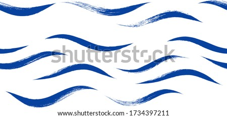 Seamless Wave Pattern, Hand drawn water sea modern vector background. Wavy beach brush stroke, curly grunge paint lines, Japan style watercolor illustration