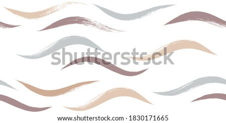 Seamless Wave Pattern, Hand drawn waves spring vector background. Girly beach brush stroke, curly grunge paint lines, watercolor illustration